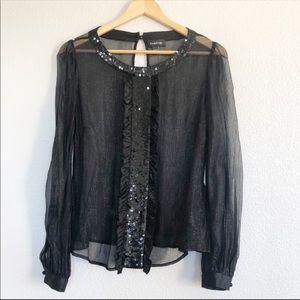 Bebe 92% Silk Black Sheer Sequined Shimmer Top